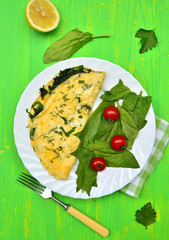 Omelette with spinach.