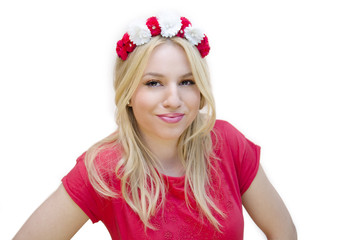 Pretty Blonde with pink floral headband