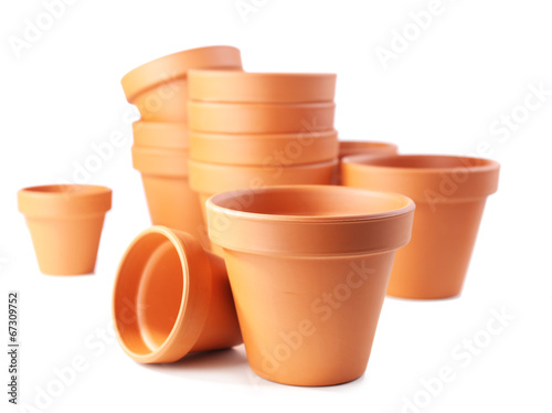 canvas print picture Clay flower pots, isolated on white