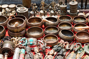 Bunch of traditional souvenirs (market in Nepal, Kathmandu)