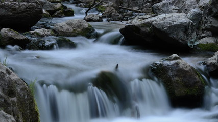 mountain stream time lapse with slow shutter speed 4K