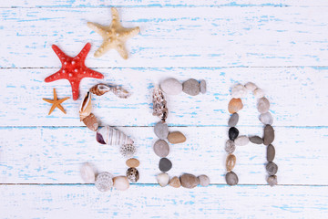 Word sea made from sea shells and stones on wooden background