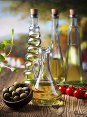 Olive oils in bottles