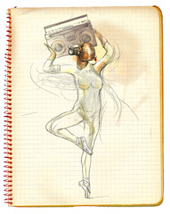 An woman holding above her head tape recorder. Hand drawn illust