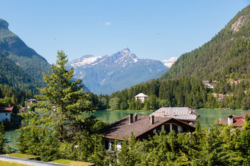 Alleghe, Belluno, Dolomieten, Italië, lago di Alleghe