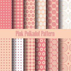 pink and white seamless pattern set