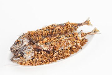 fried fish on white paper background