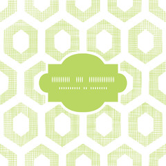 Abstract green fabric textured honeycomb cutout frame seamless