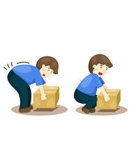 correct and incorrect  posture lifting