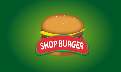 Logo vector shop burger and fast food