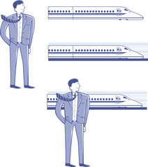 businessman and the Shinkansen