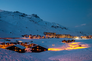 Tignes, a ski resort in the  French Alps, at blue hour