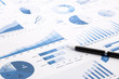blue charts, graphs, data and reports