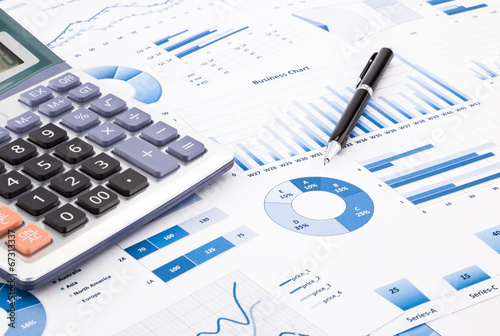 blue business charts, graphs, information and reports - 67313337