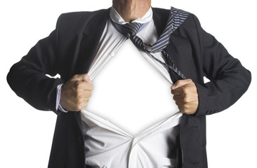 Businessman showing a superhero suit underneath his suit, isolat