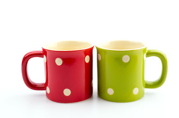 Color mug isolated white background