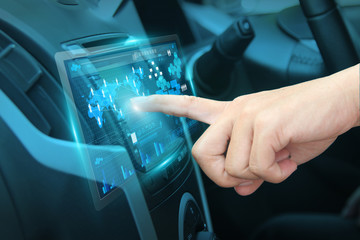 Pushing on car screen interface driver navigation system