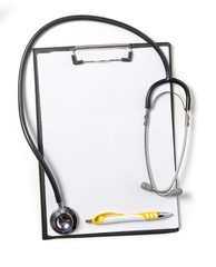 Blank clipboard with modern stethoscope, isolated on white backg