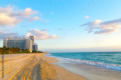 Spring morning at Miami Beach, Florida, USA