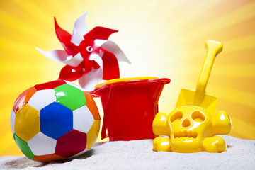 Toy windmill and beach accesories