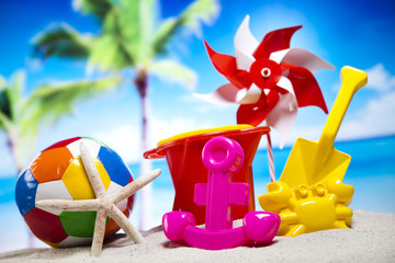 Collection of beach accessories