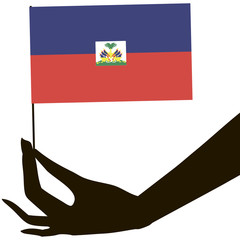Hand with flag Haiti