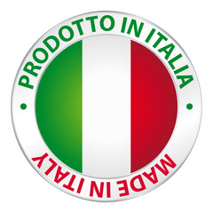 Prodotto in Italia. Made in Italy. Flag icon button.