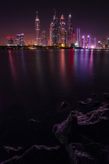General view of the Dubai Marina at night
