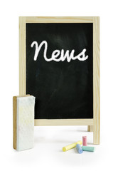News , word on blackboard, isolated on white Clipping path