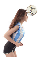 Young Asian woman Holding a Soccer Ball on White Background