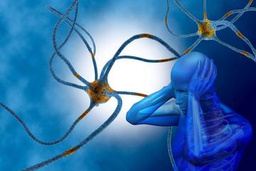digital illustration 3dman and neurons