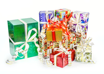 A pack of Christmas boxes with bows