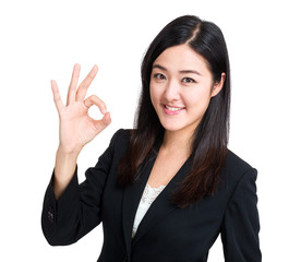 Business woman with ok sign