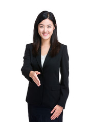 Business woman give hand for handshake