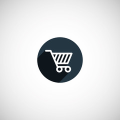 flat round shopping cart icon