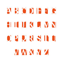 Set of alphabet symbols, icons, orange