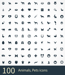 100 animals, pets icons