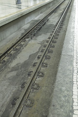 Rails in station