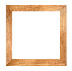 Brown wood frame isolated.