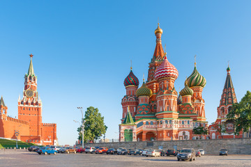 Kremlin's Spassky Tower and the Orthodox Cathedral