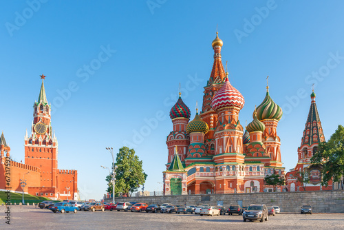 canvas print picture Kremlin's Spassky Tower and the Orthodox Cathedral
