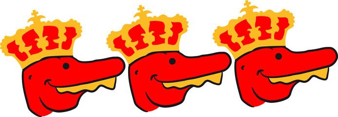 3 T-Rex Könige Team mit Krone Freunde