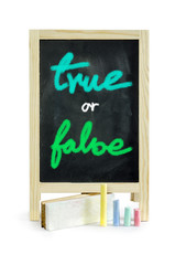 True or false white chalk handwriting on blackboard