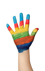 Hand of a child painted with different colors isolated on white