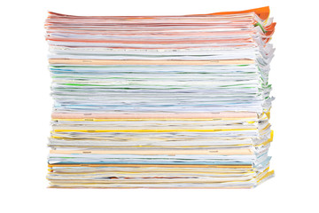 Stack of paper isolated on white background