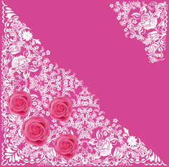 pink roses in triangular white ornament