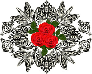 three bright roses in dark ornament