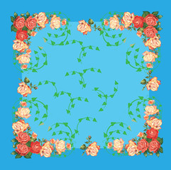 light rose decorated frame on blue background