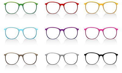 colorful eyeglasses with shadow on white background