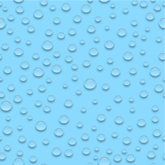 Water drops on blue background seamless pattern